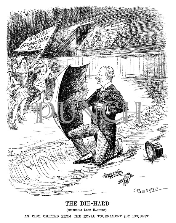 The Die-Hard. (Featuring Lord Banbury). An item omitted from the Royal Tournament (by request). (cartoon showing Lord Banbury defending the House of Lords trench with an umbrella against the oncoming rush of the Equal Franchise Bill carried by the new flapper suffragettes on a race course during the InterWar era)