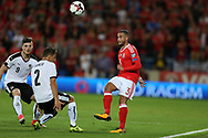 Jazz Richards of Wales (r) in action.Wales v Austria , FIFA World Cup qualifier , European group D match at the Cardiff city Stadium in Cardiff , South Wales on Saturday 2nd September 2017. pic by Andrew Orchard, Andrew Orchard sports photography