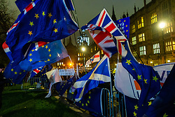 Flags and banners wave in the darkened streets outside the Houses of Parliament in London as inside MPs debate Prime Minister Theresa May's Brexit deal. London, January 15 2019.