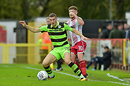 Forest Green Rovers Alexander Iacovitti(20) wins the ball from Stevenage Midfielder, Ben Kennedy (10) during the EFL Sky Bet League 2 match between Stevenage and Forest Green Rovers at the Lamex Stadium, Stevenage, England on 21 October 2017. Photo by Adam Rivers.