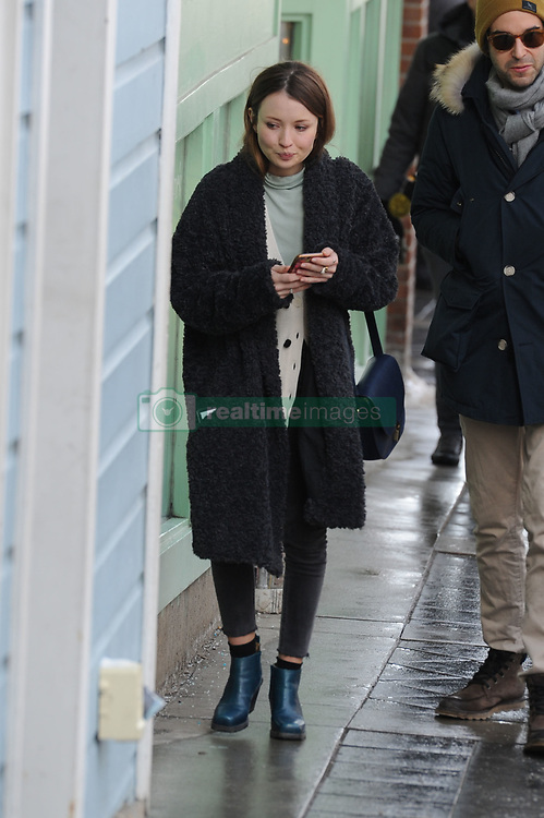 EXCLUSIVE: Australian actress Emily Browning greets a friend at the Sundance Film Festival in Park City. The actress was in town promoting her film 'Golden Exits' at the festival. 22 Jan 2017 Pictured: Emily Browning. Photo credit: Atlantic Images / MEGA TheMegaAgency.com +1 888 505 6342