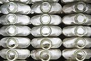 Empty glass bottles form a wall at the Bodegas de Santo Tomas Winery in Ensenada, Baja California Norte, Mexico.