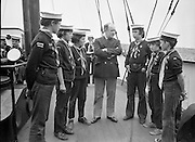 "Sea Scouts aboard the Lightship ""Albatross""..1972..22.07.1972..07.22.1972..22nd July 1972..Image of Mr Brendan O'Kelly,Chief Executive,BIM,speaking to some of the sea scouts aboard the ""Albatross""."