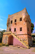 The Medieval Tower of Markellos used by the Greek government after the 1821 revolution. .<br /> <br /> If you prefer to buy from our ALAMY PHOTO LIBRARY  Collection visit : https://www.alamy.com/portfolio/paul-williams-funkystock/aegina-greece.html <br /> <br /> Visit our GREECE PHOTO COLLECTIONS for more photos to download or buy as wall art prints https://funkystock.photoshelter.com/gallery-collection/Pictures-Images-of-Greece-Photos-of-Greek-Historic-Landmark-Sites/C0000w6e8OkknEb8