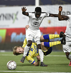 April 21, 2018 - Sint-Truiden, BELGIUM - STVV's Roman Bezus and Eupen's Diawandou Diagne fight for the ball during a soccer game between Sint-Truidense V.V. and KAS Eupen, in Sint-Truiden, Saturday 21 April 2018, on day five of the Play-Off 2B of the Belgian soccer championship. BELGA PHOTO JOHN THYS (Credit Image: © John Thys/Belga via ZUMA Press)
