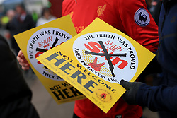 11th February 2017 - Premier League - Liverpool v Tottenham Hotspur - Flyers are handed out before the game encouraging fans not to buy The Sun newspaper - Photo: Simon Stacpoole / Offside.