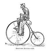 Ordinary high wheel bicycle 1876 From Wheels and Wheeling; An indispensable handbook for cyclists, with over two hundred illustrations by Porter, Luther Henry. Published in Boston in  1892