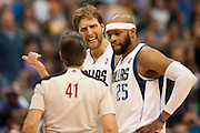 Dirk Nowitzki (41) and Vince Carter (25) of the Dallas Mavericks have words with an official after Nowitzki was whistled for a technical foul against the Los Angeles Lakers at the American Airlines Center in Dallas on Sunday, February 24, 2013. (Cooper Neill/The Dallas Morning News)