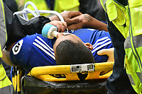 Football - 2018 / 2019 Premier League - Cardiff City vs. Manchester City<br /> <br /> Lee Peltier of Cardiff City is stretchered off injured, at Cardiff City Stadium.<br /> <br /> COLORSPORT/WINSTON BYNORTH