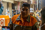 Rescue worker updates the press on Friday 4 Aug 2020. The rescue operation is focusing on 2 bodies that have been detected underneath the rubble from a building that collapsed due to the Beirut Port explosion in August. (VXP Pictures/ Matt Kynaston)