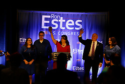 Ron Estes celebrates his win for U.S. Representative for Kansas's 4th congressional district over James Thompson, joined on stage by his wife Susan and his children on Tuesday, November 6, 2018. Photo by Bo Rader/Wichita Eagle/TNS/ABACAPRESS.COM