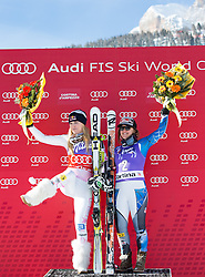 19.01.2013, Olympia delle Tofane, Cortina d Ampezzo, ITA, FIS Weltcup Ski Alpin, Abfahrt, Damen, Podium, im Bild Lindsey Vonn (USA, Platz 1) und Leanne Smith (USA, Platz 3) // 1st Place Lindsey Vonn of the USA and 2nd Place Leanne Smith of the USA celebrate on podium during ladies Downhill of the FIS Ski Alpine World Cup at the Olympia delle Tofane course, Cortina d Ampezzo, Italy on 2013/01/19. EXPA Pictures © 2013, PhotoCredit: EXPA/ Johann Groder