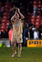 Photo: Jed Wee.<br />Blackpool FC v Bristol City. Coca Cola League 1. 21/01/2006.<br />Bristol's Steven Brooker applauds the fans at the end of the game.