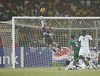 Photo: Steve Bond/Richard Lane Photography.<br />Ghana v Morocco. Africa Cup of Nations. 28/01/2008. Asamoah Gyan (on ground) shoots over. Keeper Nadir Lamyaghri dives acrobatically