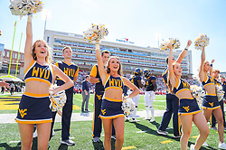 Sep 4, 2021; College Park, Maryland, USA; West Virginia Mountaineers cheerleaders perform prior to their game against the Maryland Terrapins at Capital One Field at Maryland Stadium. Mandatory Credit: Ben Queen-USA TODAY Sports
