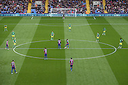 a general view as Both sets of players await k/o. Barclays Premier League match, Crystal Palace v Norwich city at Selhurst Park in London on Saturday 9th April 2016. pic by John Patrick Fletcher, Andrew Orchard sports photography.