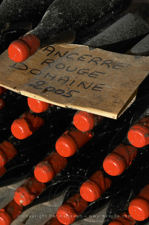 Bottles aging in the cellar. Red Domaine 2005. Domaine de la Perriere, Sancerre, Loire, France