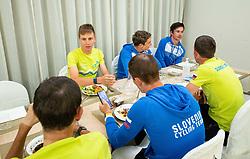 Tadej Pogacar, Luka Pibernik and Primoz Roglic at dinner of Team Slovenia during  UCI Road World Championship 2020, on September 24, 2020 in Hotel Lungomare, Rimini, Italy. Photo by Vid Ponikvar / Sportida