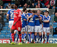 Chesterfield congratulate Jay O'Shea after his cross led to Walsall's James O'Connor scoring an own goal which gave them a 1-0 lead<br /> <br /> Photographer David Shipman/CameraSport<br /> <br /> Football - The Football League Sky Bet League One - Chesterfield v Walsall - Saturday 12th March 2016 - Proact Stadium - Chesterfield    <br /> <br /> © CameraSport - 43 Linden Ave. Countesthorpe. Leicester. England. LE8 5PG - Tel: +44 (0) 116 277 4147 - admin@camerasport.com - www.camerasport.com