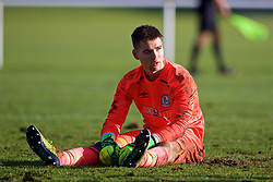 BLACKBURN, ENGLAND - Saturday, January 6, 2018: Blackburn Rovers' goalkeeper Matty Campbell looks dejected after conceding the sixth goal during an Under-18 FA Premier League match between Blackburn Rovers FC and Liverpool FC at Brockhall Village Training Ground. (Pic by David Rawcliffe/Propaganda)