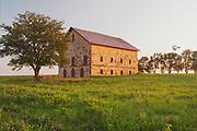 Elijah Filley Stone Barn and Masonic Temple, Filley, Nebraska, Tree, Windmill, sawhorse, wild flowers, spring flowers, summer field, Sunset, Green Pastures, Heartland America, Midwest farms