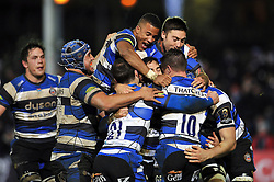 Bath Rugby players celebrate Horacio Agulla's late bonus point winning try - Photo mandatory by-line: Patrick Khachfe/JMP - Mobile: 07966 386802 12/12/2014 - SPORT - RUGBY UNION - Bath - The Recreation Ground - Bath Rugby v Montpellier - European Rugby Champions Cup
