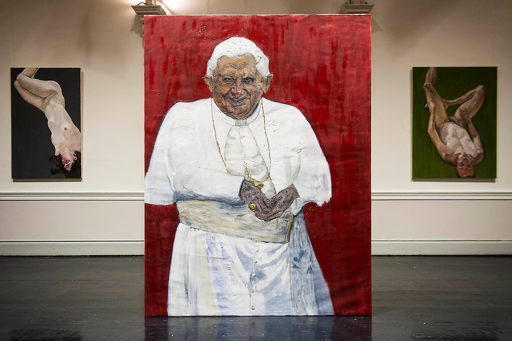 The Naked and the Nude - The first solo show in London by Venezuelan painter, Rodolfo Villaplana.  Highlights include Ratzinger Revisited, Oil on Canvas, 300x170cm, £25,000 (pictured). Supported by the Museum of Contemporary Art, the selling exhibition will take place at the 20th Century Theatre in Notting Hill, London, during Frieze Week from 16 - 19 October 2014. The young painter finished his MA studies at the Chelsea College of Art in 2013 and 'has gone from strength to strength since'. He has been endorsed by the Young Masters 2013 panel and his debut solo show 'Anarchivolto' ran in Venice, throughout the Venice Architecture Biennale in Sant'Erasmo.