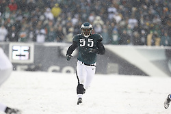 Philadelphia Eagles linebacker Brandon Graham #55 runs downfield on special teams during the NFL game between the Detroit Lions and the Philadelphia Eagles on Sunday, December 8th 2013 in Philadelphia. The Eagles won 34-20. (Photo by Brian Garfinkel)