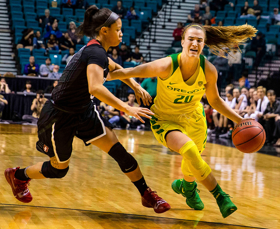 Mar 10 2019  Las Vegas, NV, U.S.A.  Oregon guard Sabrina Ionescu (20) drives to the basket during the NCAA Pac 12 Women's Basketball tournament championship between the Oregon Ducks and the Stanford Cardinals 57-64 lost at MGM Grand Garden Arena Las Vegas, NV.  Thurman James / CSM
