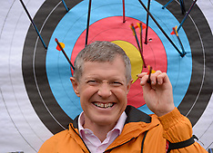 Scottish Lib Dem leader Willie Rennie hits the bullseye, Edinburgh, 27 November 2019