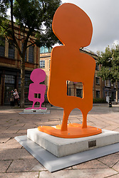 "© Licensed to London News Pictures. 29/09/2020. LONDON, UK. Alice Irwin's ""People Play"" sculpture has been installed in Latimer Road, west London, as part of Kensington and Chelsea Art Week's Public Art Trail.  These are other temporary landmarks have been installed across eight zones of the borough, connecting Royal Borough of Kensington and Chelsea provide a walking trail for the public to enjoy.  The event runs 1 October to 11 October 2020.  Photo credit: Stephen Chung/LNP"