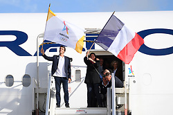 Teddy Riner and Michael Jeremiasz during the return of the Paris 2024 delegation to the Charles de Gaulle Airport , Paris, September 15, 2017. Co-Presidents of Paris 2024 Tony Estanguet and Mayor of Paris Anne Hidalgo during the return of the Paris 2024 delegation to the Charles de Gaulle Airport , Paris, September 15, 2017. Photo by Paris 2024/ABACAPRESS.COM