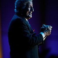 """ST PAUL, MN - JULY 12:   Tony Bennett sings at the 2009 Starkey Hearing Foundation 9th Annual """"So the World May Hear"""" Gala at the St Paul RiverCentre on July 12, 2009 in St Paul, Minnesota.   (Photo by Adam Bettcher/Getty Images for Starkey Hearing Foundation) *** Local Caption *** Tony Bennett"""