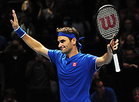 Tennis - 2018 Nitto ATP Finals at The O2 - Day Two<br /> <br /> Mens Singles : Roger Federer (SUI) v Dominic Thiem (Aut)<br /> <br /> Roger Federer salutes the crowd after winning the match<br /> <br /> COLORSPORT/ANDREW COWIE