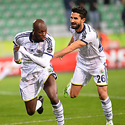 Fenerbahce's Moussa Sow (L) celebrate his goal with team mate during their Turkish Super League soccer match Caykur Rizespor between Fenerbahce at the Yeni Rize Sehir stadium in Rize Turkey on Saturday, 04 April 2015. Photo by TVPN/TURKPIX