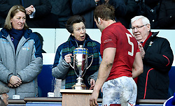 The Princess Royal presents Wales' Alyn Wyn Jones with the Doddie Weir Cup during the Guinness Six Nations match at BT Murrayfield, Edinburgh.