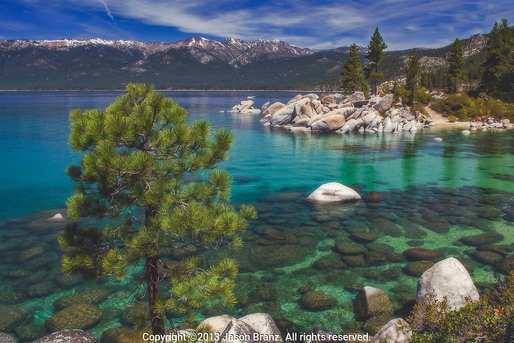 The clear blue waters of Lake Tahoe in spring.