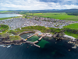 View of harbour at Portnockie on Moray Firth coast in Moray, Scotland, UK