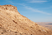 """Makhtesh Ramon a geological feature of Israel's Negev desert. Located at the peak of Mount Negev, the world's largest """"erosion cirque"""" (steephead valley or box canyons). The formation is 40 km long, 2–10 km wide and 500 meters deep, Today the area forms Israel's largest national park, the Ramon Nature Reserve."""