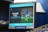 The scoreboard showing appreciation for their  captain Everton defender Leighton Baines (3) who announced his retirement after the game during the Premier League match between Everton and Bournemouth at Goodison Park, Liverpool, England on 26 July 2020.