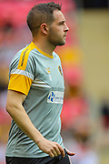 Newport County midfielder Matthew Dolan (8) warms up prior to the EFL Sky Bet League 2 Play Off Final match between Newport County and Tranmere Rovers at Wembley Stadium, London, England on 25 May 2019.