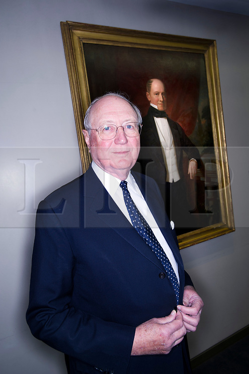 © Licensed to London News Pictures. 22/02/2013. London, UK. Bruno Schroder, Non-executive Director at Schroder Bank, pictured in front of a painting of his great grandfather and founder of Schroders, Baron Bruno Schroder, at the Schroder Bank headquarters in London. . The billionaire head of his family's investment bank, has passed away aged 86. Photo credit: Ben Cawthra/LNP