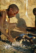 Hadza people, one of the last hunter-gatherer tribes left in Africa, Lake Eyasi region, Tanzania.