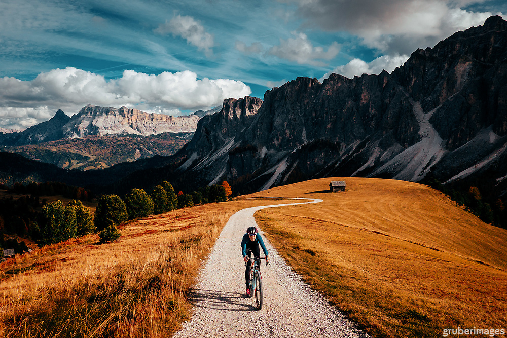 """One of my absolute favorite pictures, rides, scenes ever - not far from our """"home"""" in the Dolomites: Badia, Italy."""