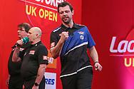 Maik Kuivenhoven  wins his second round match against Boris Kolstov and celebrates during the Ladbrokes UK Open at Stadium:MK, Milton Keynes, England. UK on 5 March 2021.
