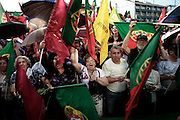 Supporters of the Socialist Party and of José Socrates during the José Socrates parliamentary election campaign in Braga. José Socrates, the former Portuguese prime minister and leader of the Socialist Party (center-left wings), run for the parliamentary election.