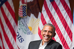 Former President Barack Obama smiles on Monday, April 24, 2017 at a discussion with six Chicago-area students at the Logan Center for the Arts on the University of Chicago campus. Photo by Zbigniew Bzdak/Chicago Tribune/TNS/ABACAPRESS.COM