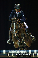 Denis Lynch on Ho Go van de Padenborre competes during Longines Speed Challenge at the Longines Masters of Hong Kong on 20 February 2016 at the Asia World Expo in Hong Kong, China. Photo by Juan Manuel Serrano / Power Sport Images