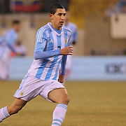 Angel Di Maria, Argentina, in action during the Argentina Vs Ecuador International friendly football match at MetLife Stadium, New Jersey. USA. 31st march 2015. Photo Tim Clayton