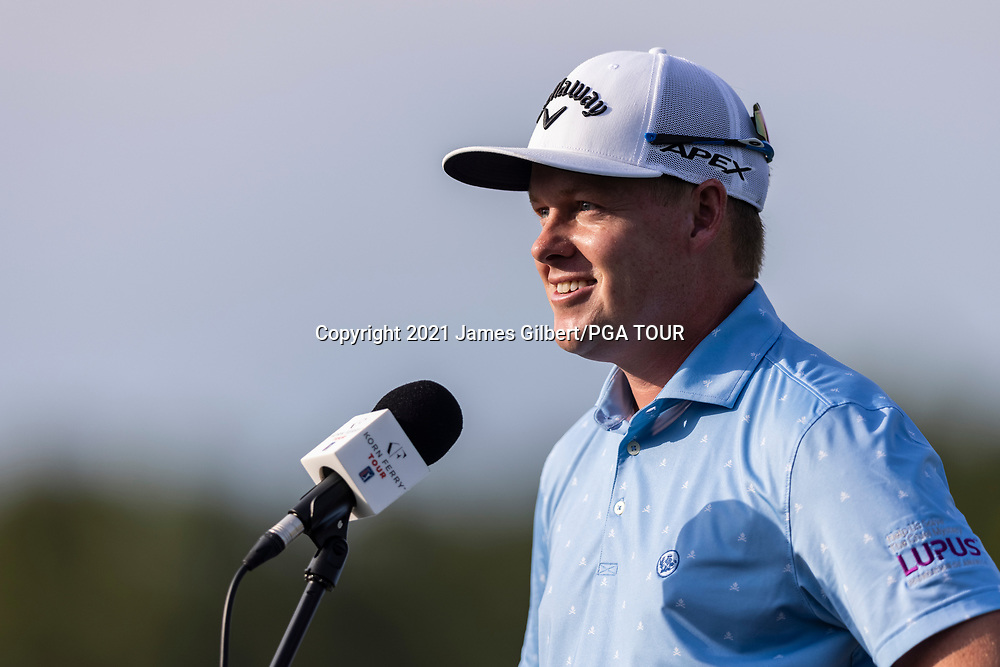 NEWBURGH, IN - SEPTEMBER 03: Shad Tuten speaks to the media after the second round of the Korn Ferry Tour Championship presented by United Leasing and Financing at Victoria National Golf Club on September 3, 2021 in Newburgh, Indiana. (Photo by James Gilbert/PGA TOUR via Getty Images)